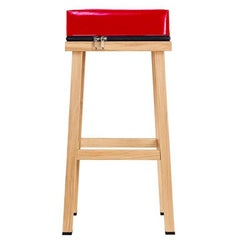 Visser and Meijwaard Truecolors High Stool in Red PVC Cloth with Zipper