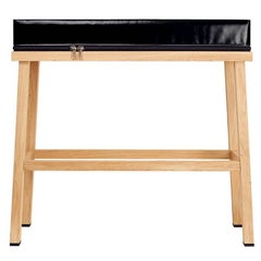 Visser and Meijwaard Truecolors High Bench in Black PVC Cloth with Zipper Detail
