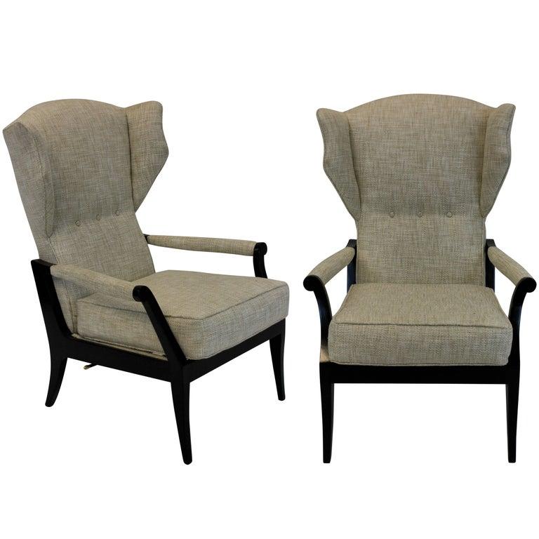 Pair of Stylish Italian Reclining Armchairs
