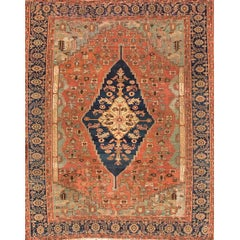 Antique Rust and Blue Persian Serapi Carpet