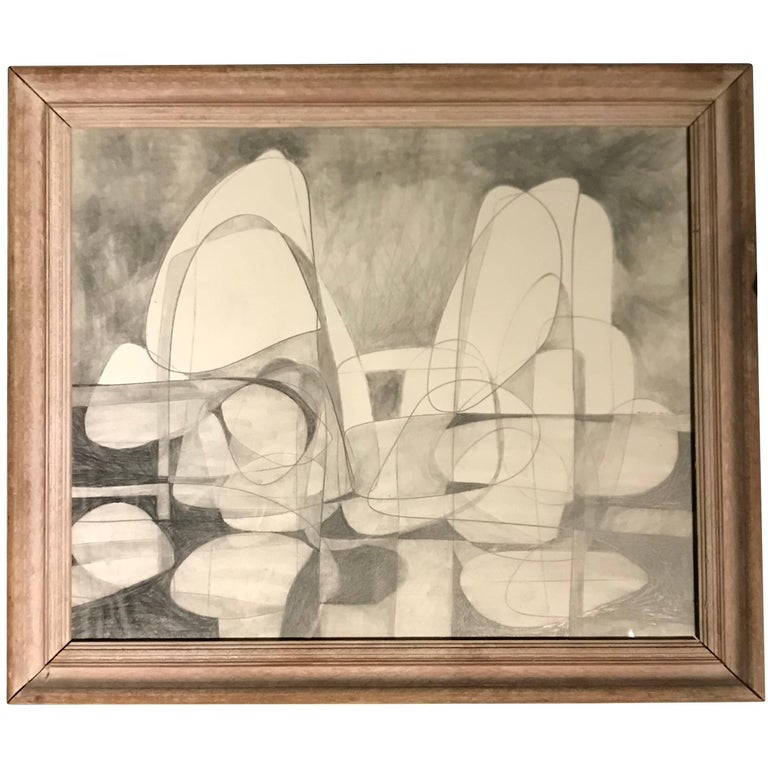 Contemporary American Artist David Dew Bruner Charcoal Drawing For Sale