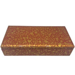 1970s Chinese Red and Gold Lacquered Box