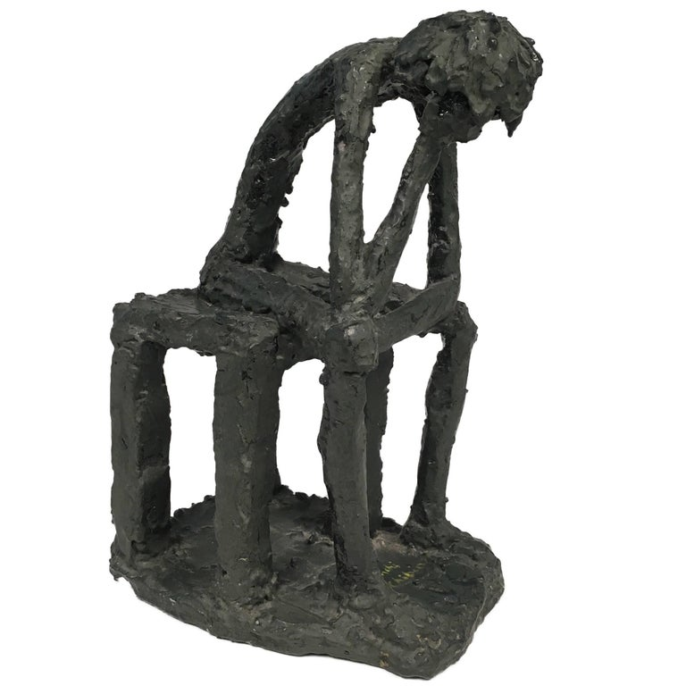 Mr. Thinker Sculpture in Plaster Signed by Bianchi G. Chibian