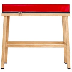 Visser and Meijwaard Truecolors High Bench in Red PVC Cloth with Zipper