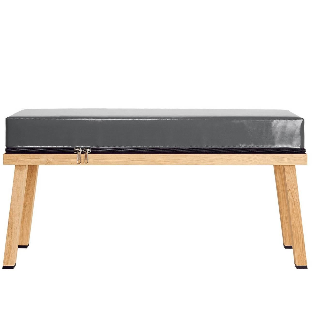 Merveilleux Visser And Meijwaard Truecolors Bench In Dark Grey PVC Cloth With Zipper  For Sale