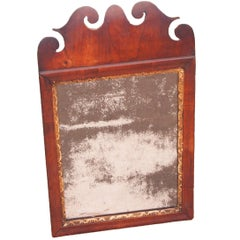 Antique Small 18th Century Walnut and Gilt Mirror