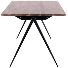 Galvanitas Industrial Black Walnut Table in Prouve Style