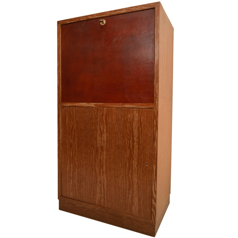 Art Deco Secretary in Oak with Door Covered in Core-Leather by Charles Dudouyt For Sale