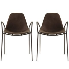 Set of Two Mammamia Brown Leather Chairs