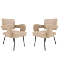 Pair of French Midcentury Armchairs, Attrib. to Jacques Adnet