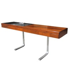 Midcentury Rosewood Buffet Table with Built-In Heating Tray