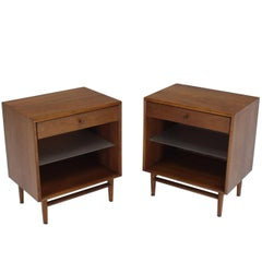 Pair of Walnut One Drawer Nightstands or End Tables