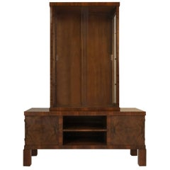 Exotic Rosewood Art Deco Display Cabinet and Credenza, circa 1930