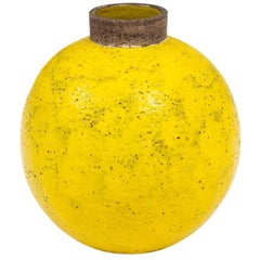 Bitossi Ceramic Vase Yellow Brown Round Pottery Signed, Italy, 1960s