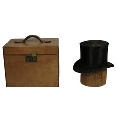 19th Century Beaver Skin Top and Original Leather Hat Box, circa 1800s