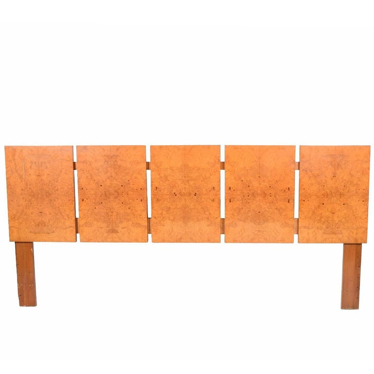 King-Size Burl Maple Headboard by Lane Furniture For Sale