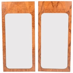 Pair of Burl Wood Mirrors by Lane Furniture