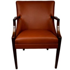 Early Danish Midcentury Aniline Leather Armchair Ole Wanscher, A.J. Iversen