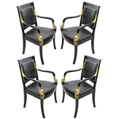 Set of Four Neoclassical Empire Style Armchairs