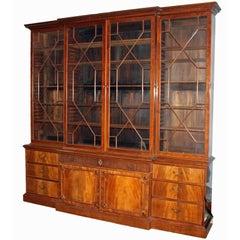 Maples & co George III design mahogany breakfront bookcase