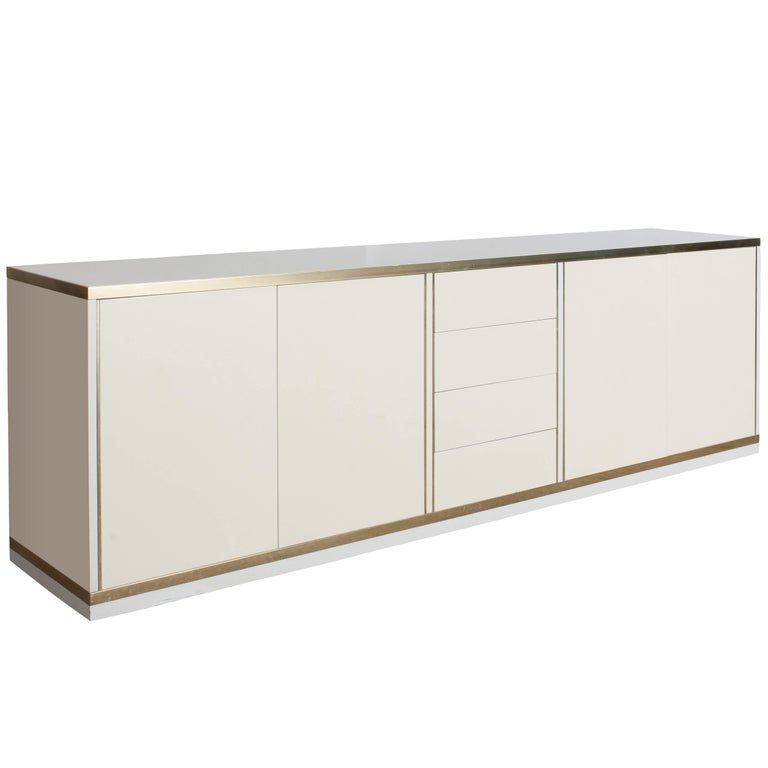 Lacquered and Brass Credenza by Mario Sabot