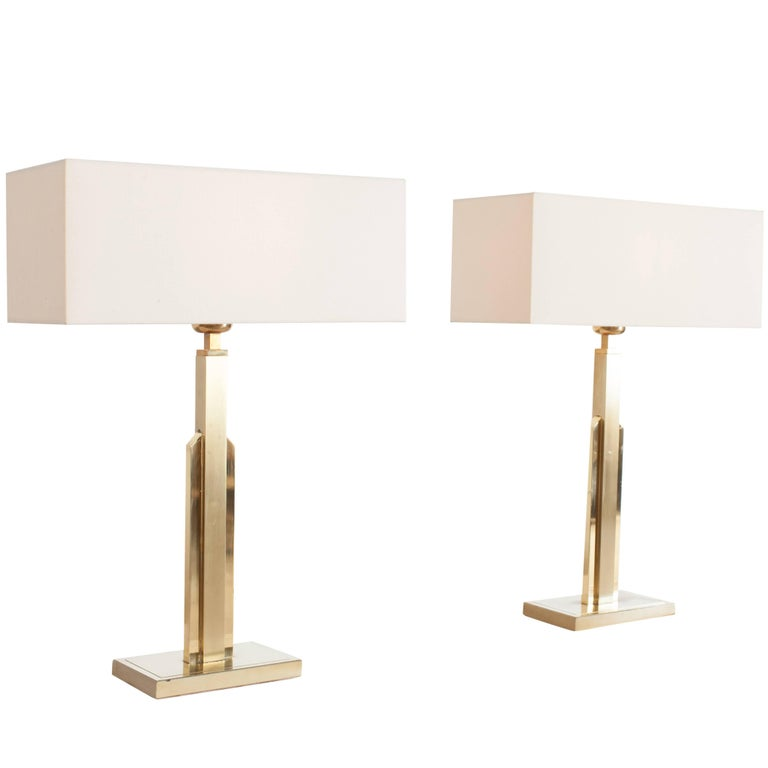 Pair of Maison Jansen Table Lamps with White Linnen Shades For Sale