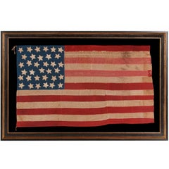 34 Star, Hand-Sewn, Homemade Antique American Flag of the Civil War Period
