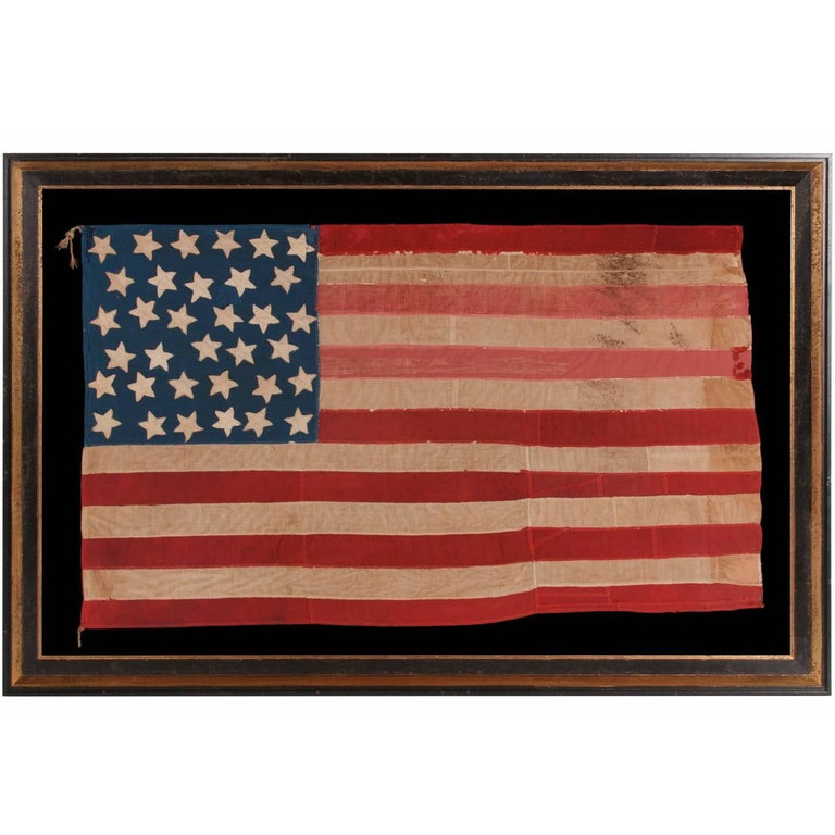 34 Star, Hand-Sewn, Homemade Antique American Flag of the Civil War Period For Sale