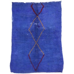 Blue Vintage Berber Moroccan Rug with Modern Tribal Style