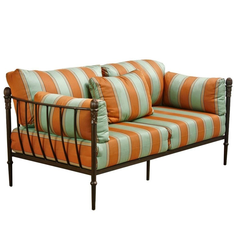 Michael Taylor Montecito Collection Iron Settee or Loveseat For Sale