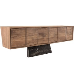 Walnut Sideboard Credenza, Monte Negro Black Marble Base, Dolmen Collection
