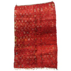 Vintage Berber Moroccan Rug with Modern Tribal Style, Red Moroccan Rug