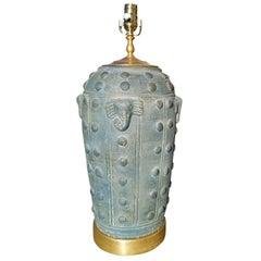 Art Deco Style Terra Cotta Vase as Lamp, American, circa 1930-1960s