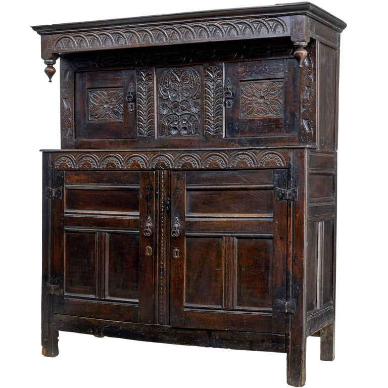 17th Century Carved Oak Court Cupboard