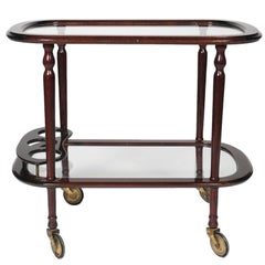 Italian Bar Cart Mahogany by Cesare Lacca, Serving Tray and Bottle Holder, 1950s