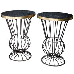 Italian Gueridon Tables with Steel, Brass and Tile, Pair