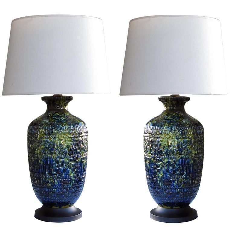 Massive and Pair of American Ceramic Lamps with Blue, Green, & Yellow Drip Glaze