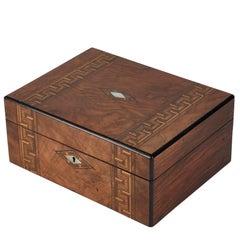 1880s English Inlaid Walnut Sewing Box