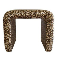 Mid Century leopard print silk waterfall bench in the style of Milo Baughman
