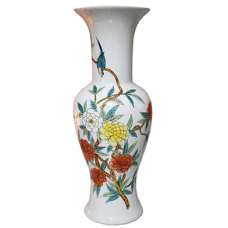 Chinese Floral Birds Polychrome Enameled Porcelain Vase, Mid-20th Century