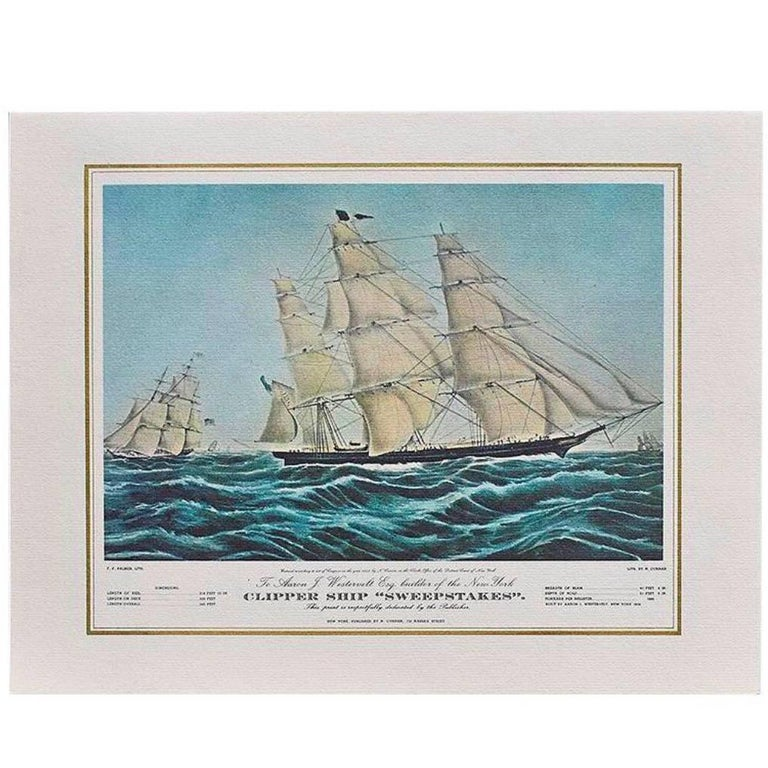 Nautical water color print 1966 Currier & Ives Panam Airline Menu Cover