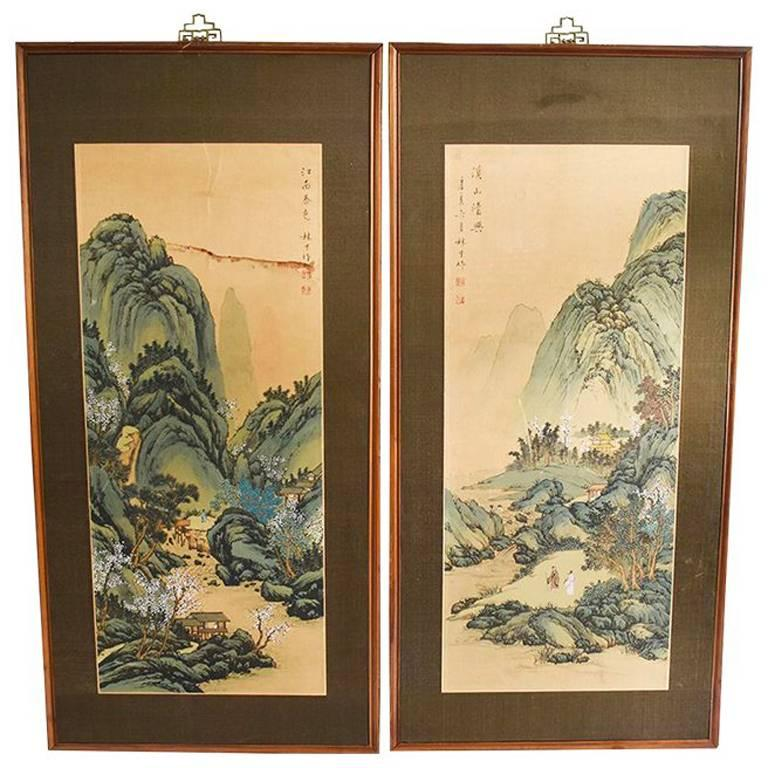asian wood panel paintings diptych brass hardware flora and fauna