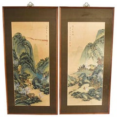 Asian Wood Panel Paintings Diptych Brass Hardware Flora and Fauna Scene Japanese