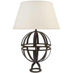 Mid Century French Open Sphere Iron Table Lamp