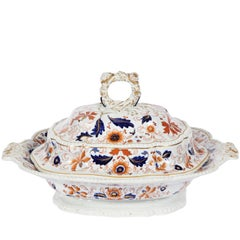 Antique English Imari Pattern Ironstone Lidded Tureen