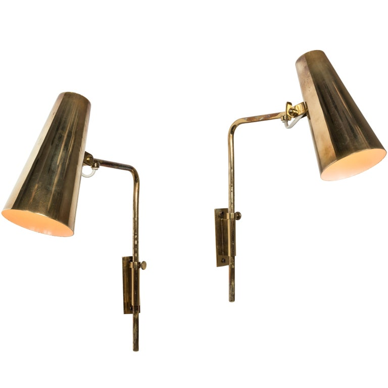 1950s Paavo Tynell Model #9459 Wall Lights for Taito OY