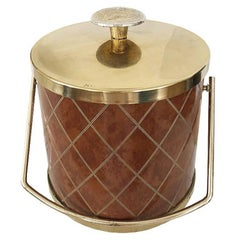 Brown Mid century Ice Bucket with Brass Details and Diamond Pattern