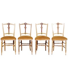 Set of Four 19th Century Paint Decorated Side Chairs with Jasper Ware Plaques