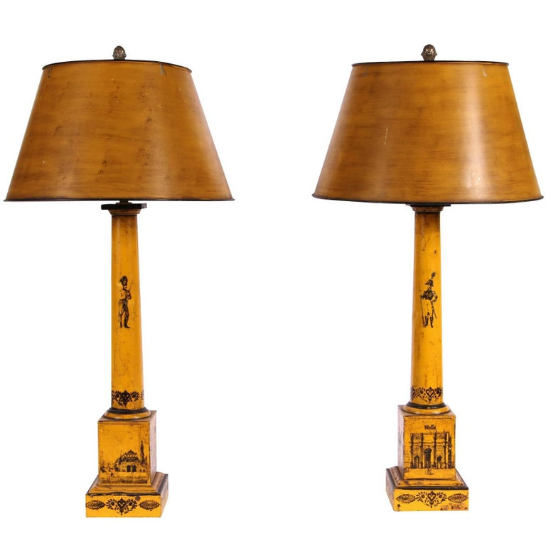 Pair of Antique Paint Decorated Tole Lamps