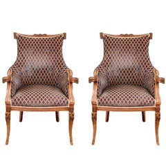 Pair of Hollywood Regency Carved Fireside Chairs
